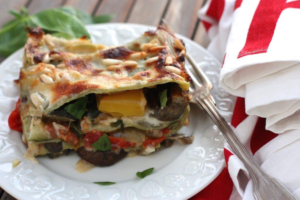 Roasted veg lasagne - slice