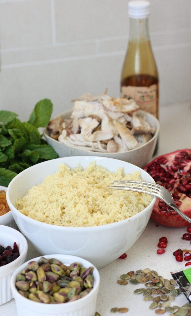 Jewelled Turkey, Pistachio & Mint Coucous - leftovers