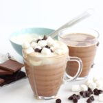 The Ultimate Hot Chocolate - rich, creamy, not too bitter, not too sweet and for a special treat, topped with some whipped cream, a few marshmallows and a sprinkle or two of chocolate chips. It's not an every day drink - this is a treat - a really special treat. A treat for those moments when feeling cosy is the only answer.