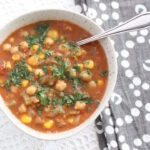 This Moroccan Chickpea Soup is definitely one of my favourites and has become a regular in my food flask (and sometimes dinner) rotation. It's packed with delicious vegetables and is lightly spiced, but it's the last minute addition of lemon and parsley that really make the flavours do a happy dance.
