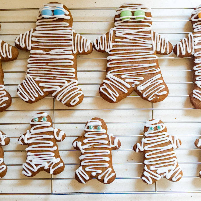 Gingerbread Mummies cooling on a wire rack