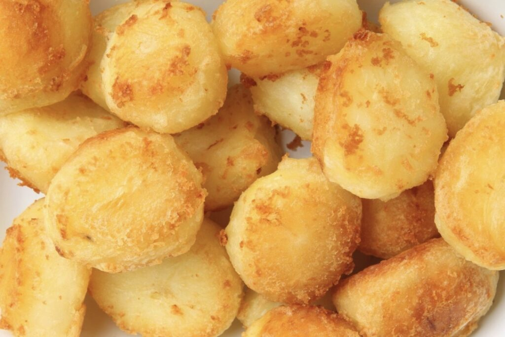 Freeze ahead roast potatoes, cooked and ready to be eaten