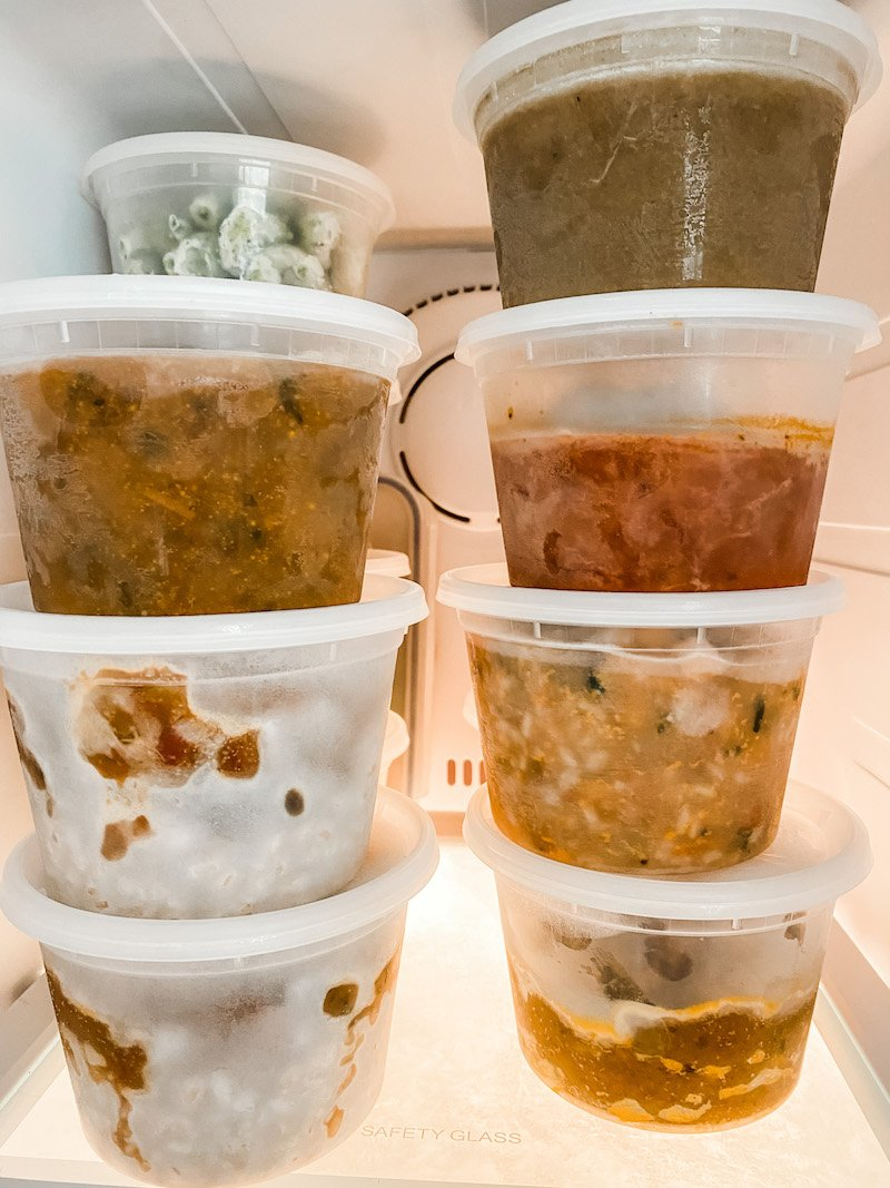 Food stored in freezer ready for food flasks