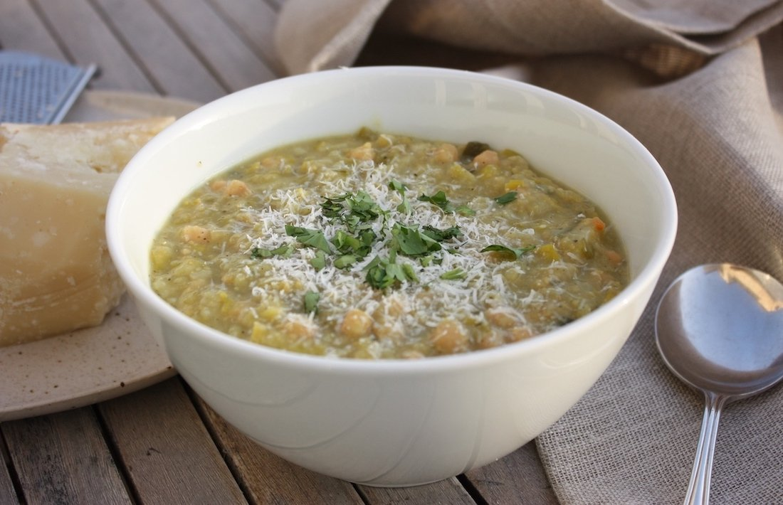 Chickpea and Leek Soup in a white bowl