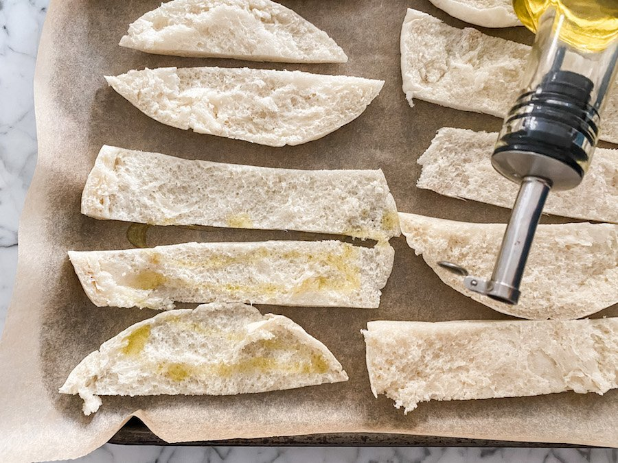 Pita Bread Crisps ready to be baked in the oven