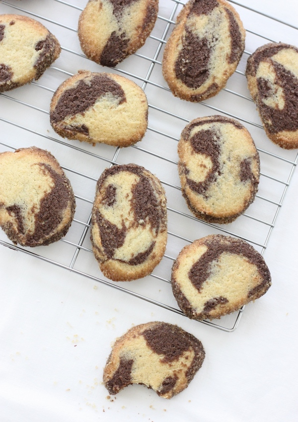 Chocolate Marbled Cookies cooling on a wire rack