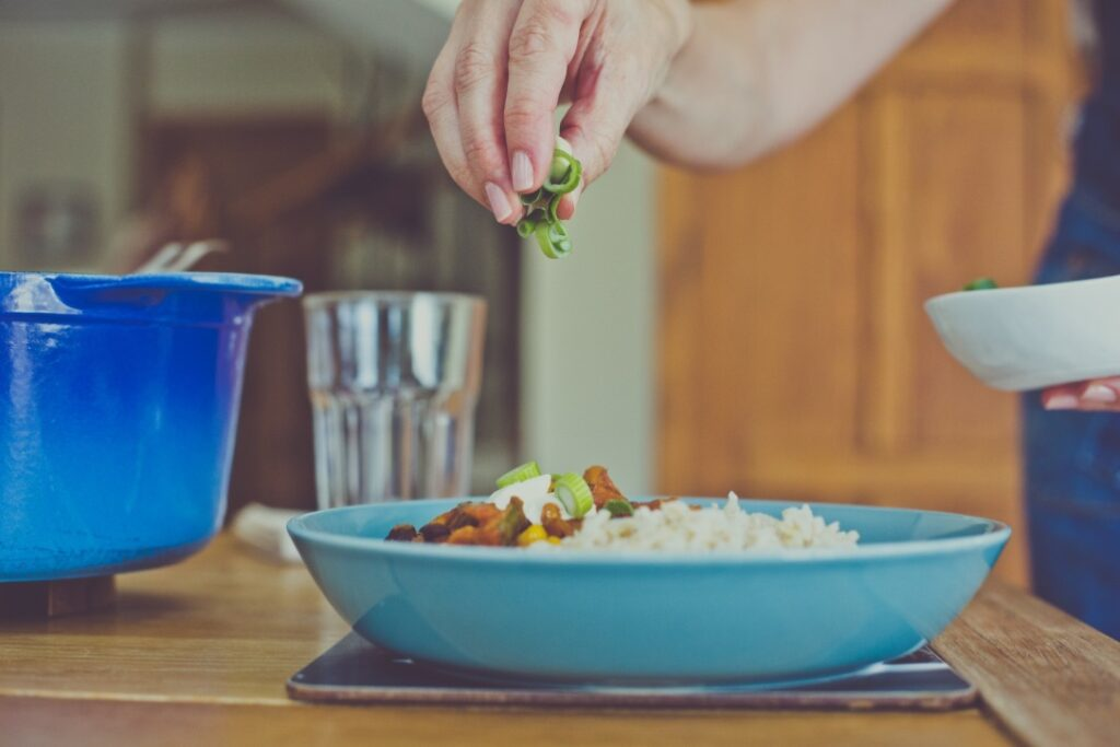 Entertaining at home - garnish the dishes