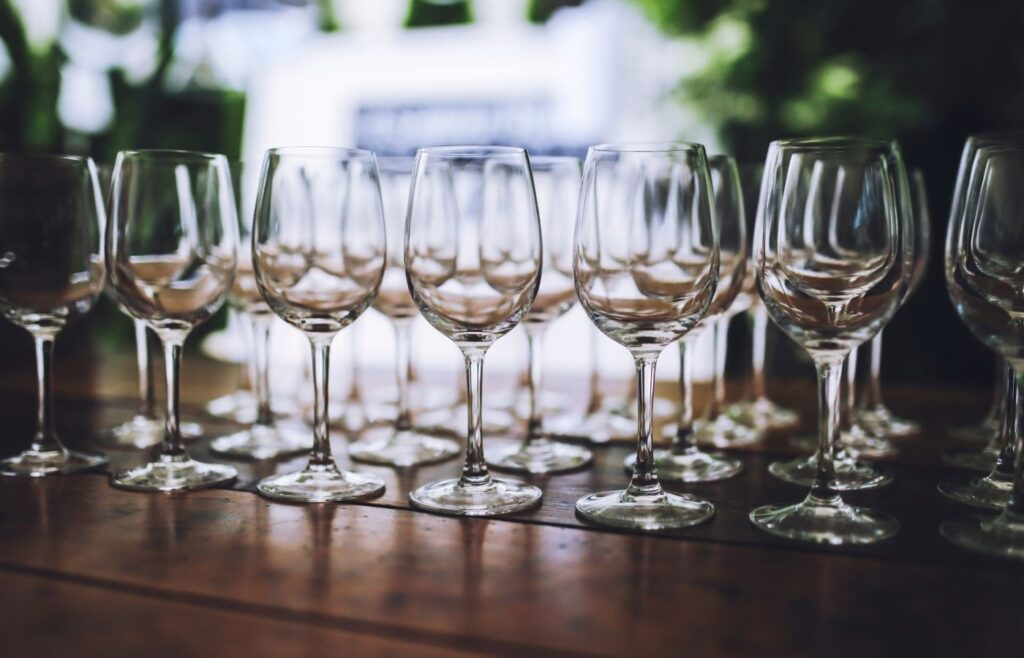 Entertaining at home - get the glasses laid out in advance