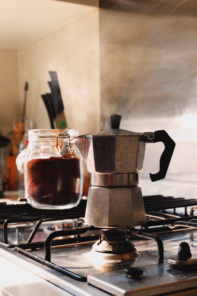 Coffee brewing on the stove