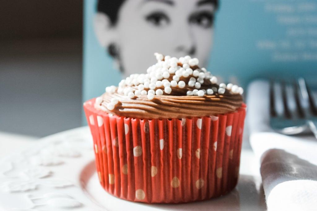 A single chocolate cupcake