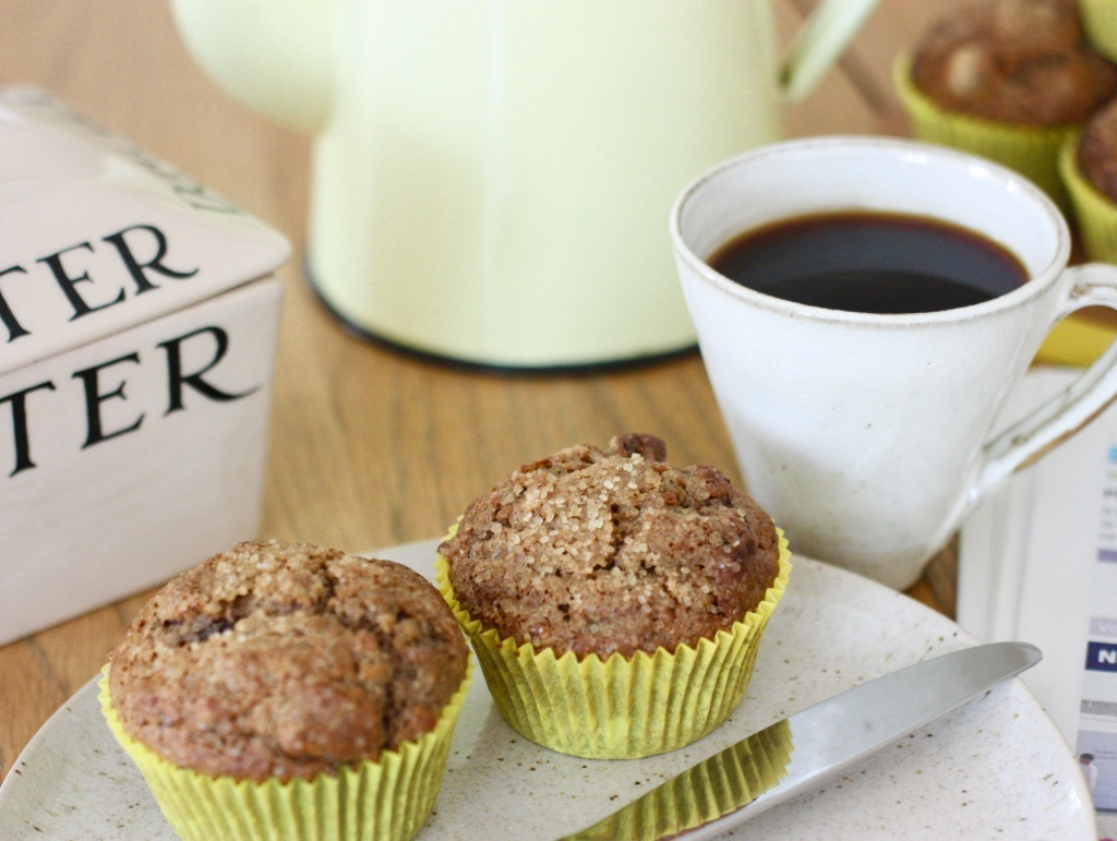 Overnight Date and Granola Muffins with a black coffee
