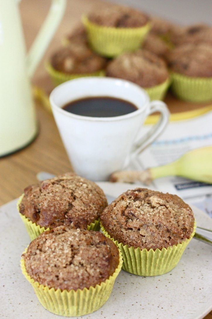 Overnight Date and Granola Muffins with a cup of black coffee