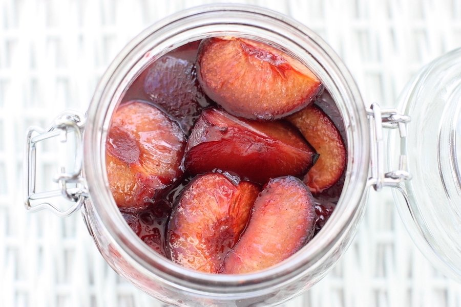 Roasted Plums with Vanilla Sugar in a jar from above