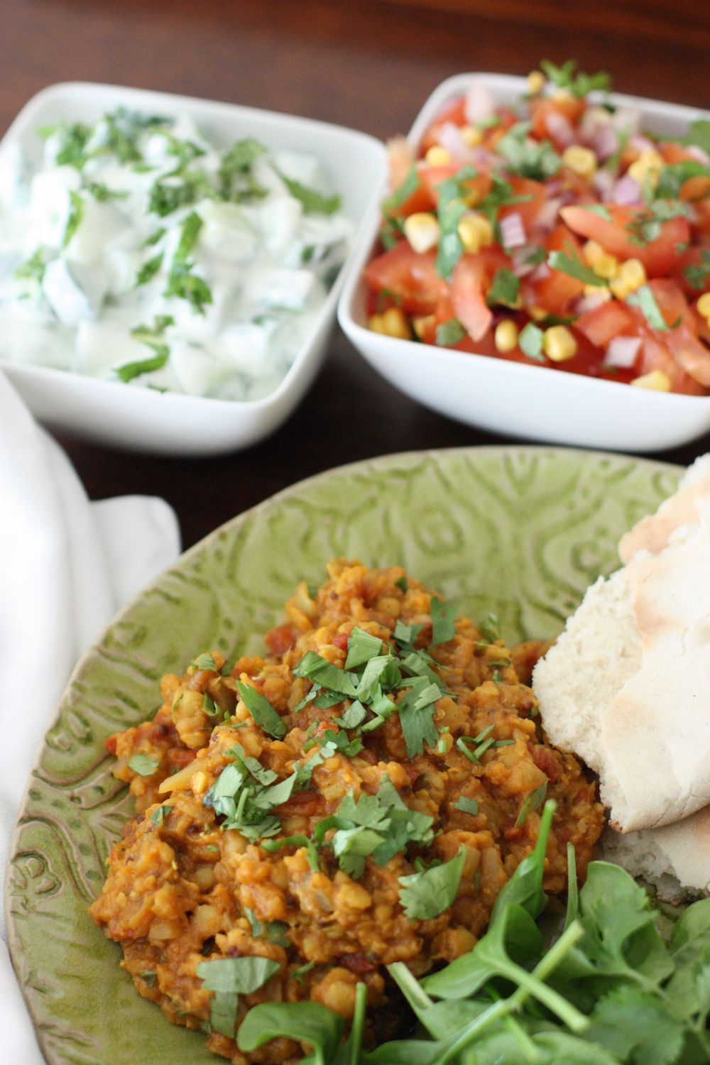 Mixed Lentil Dhal with side salads