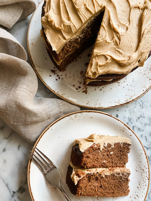 Coffee and Chocolate Layer Cake, a slice on a plate with a fork next to the full cake