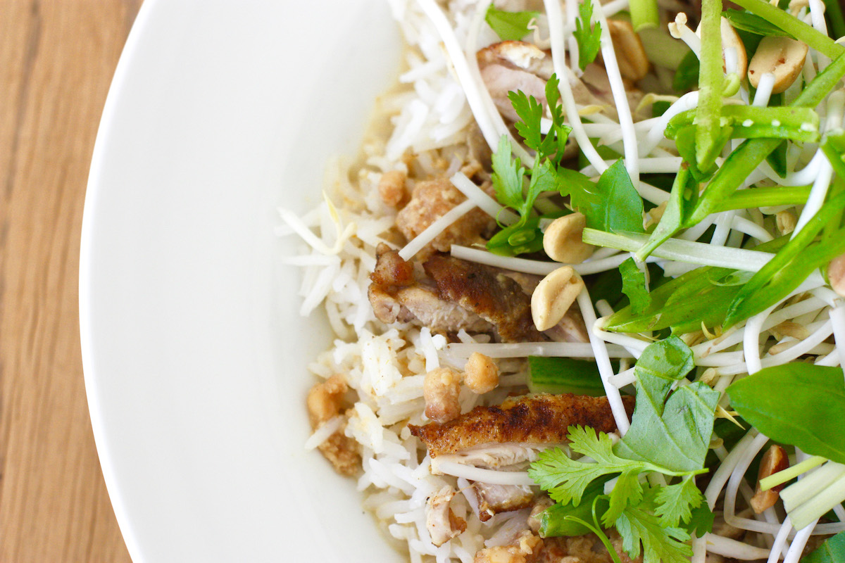 Thai Chicken Satay Rice Bowl from above